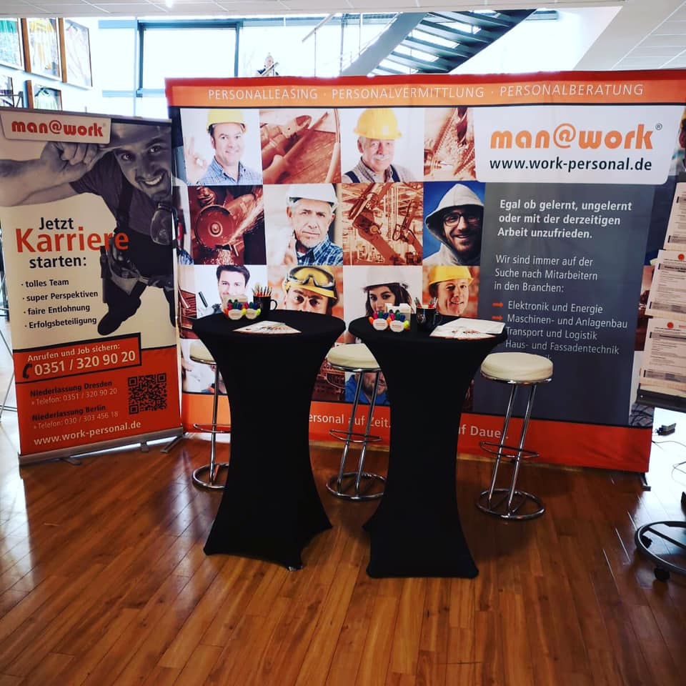 man@work Messestand Dynamo Stadion Dresden Jobmesse